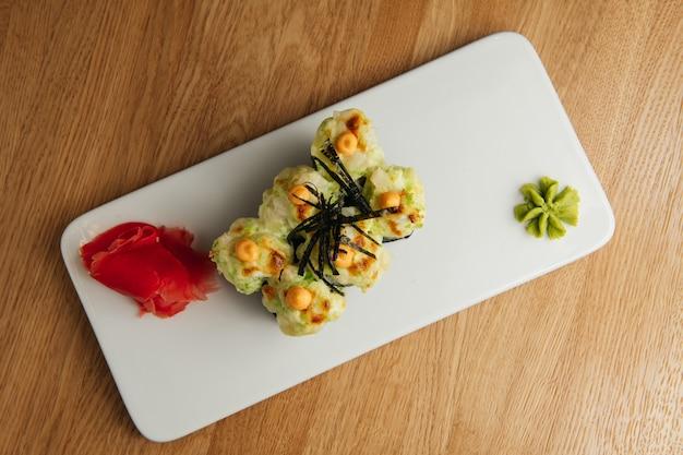 Traditional sushi restaurant dish, menu item. national japanese cuisine appetizer.