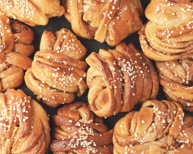 Traditional swedish cinnamon buns. very popular snack throughout scandinavia. top view