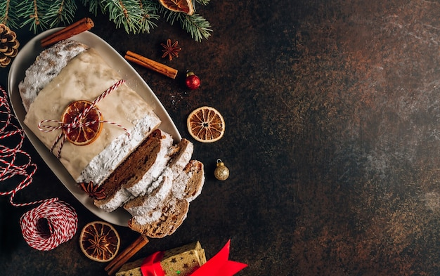 Traditional sweet fruit loaf with icing sugar
