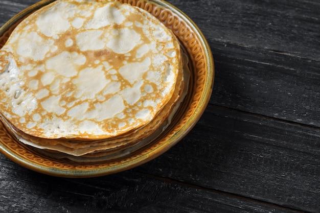 Traditional thin pancakes for pancake week
