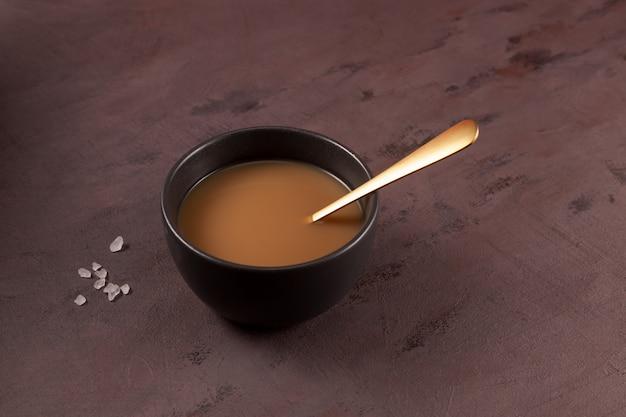 Traditional tibetan butter tea or churned tea asian drink