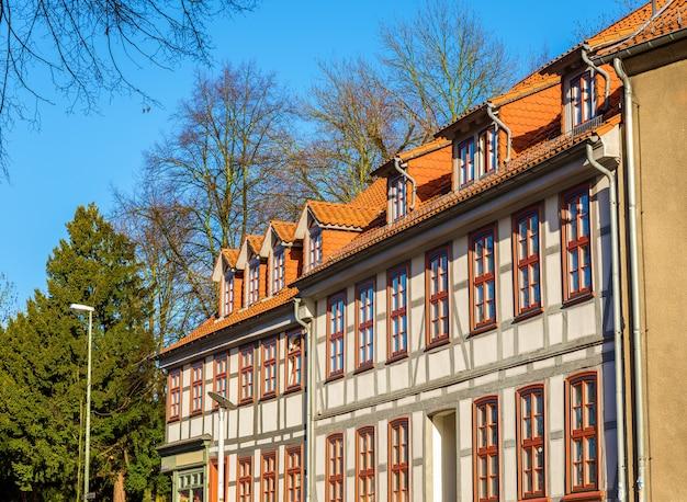 ドイツ、ニーダーザクセン州ゲッティンゲンの伝統的な木造建築物