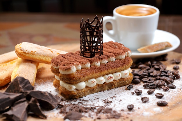 Traditional tiramisu with coffee