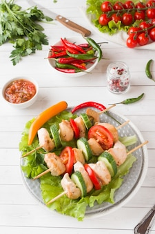Traditional turkey chicken kebab meat with tomatoes, cucumber and fresh herbs on a plate.