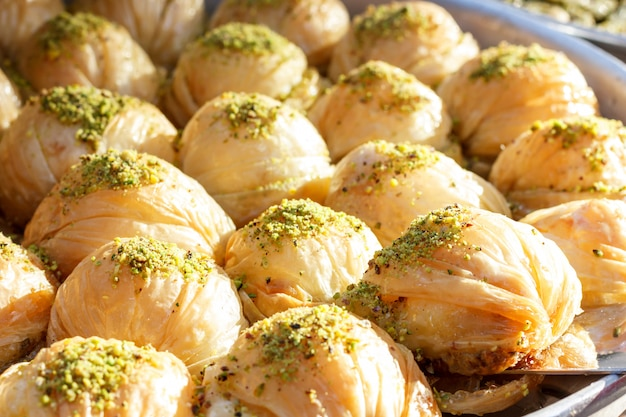 Traditional turkish baklava sweets in the open buffet in a hotel in turkey