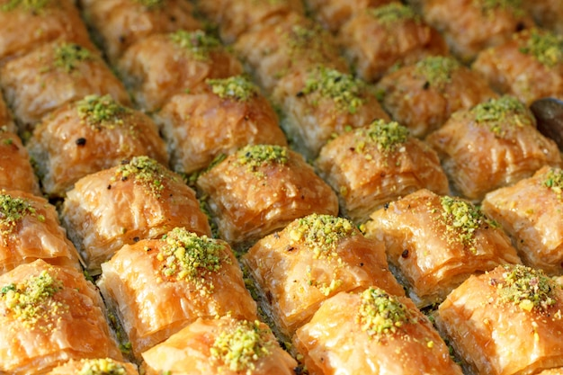 Traditional turkish baklava sweets in the open buffet in a hotel in turkey