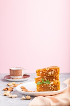 Traditional turkish candy cezerye made from caramelised melon