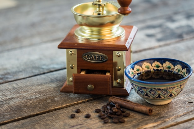 Traditional turkish coffee cup still life close up