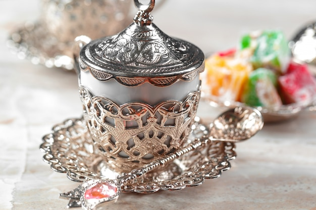 Traditional turkish coffee and turkish delight