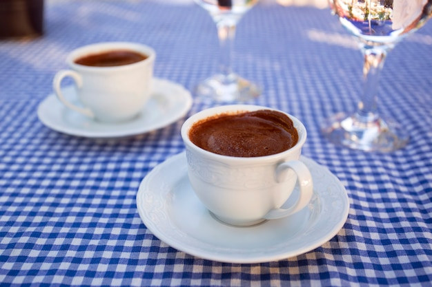 Traditional turkish coffee with a glass of water