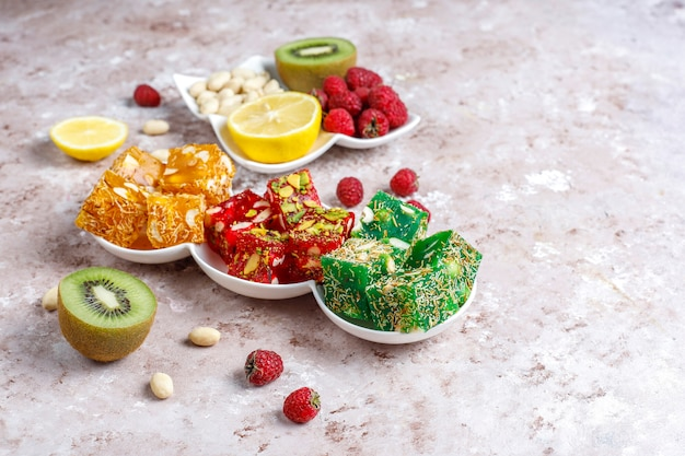 Traditional turkish delight, oriental sweets.
