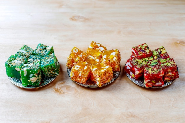 Traditional turkish delight,oriental sweets.