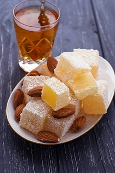 Traditional turkish delight and tea
