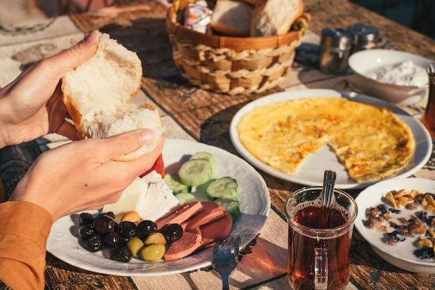 Traditional turkish food on breakfast