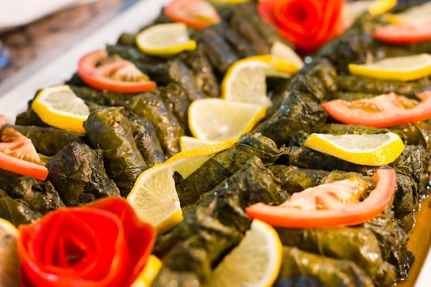 Traditional turkish food - sarma in grape leaves
