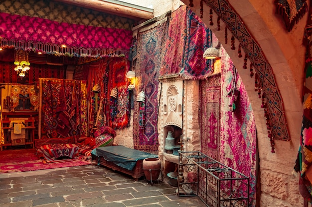 Traditional turkish handmade carpets in the gift shop.