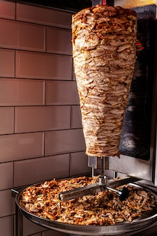 Traditional turkish oriental cuisine chicken meat for doner kebab