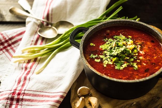 Traditional ukrainian beet soup