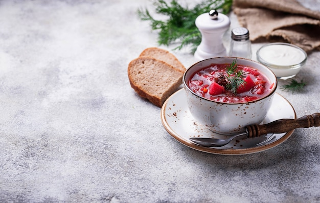 Traditional ukrainian beetroot soup borsch