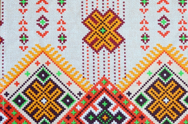 Traditional ukrainian folk art knitted embroidery design on textile fabric