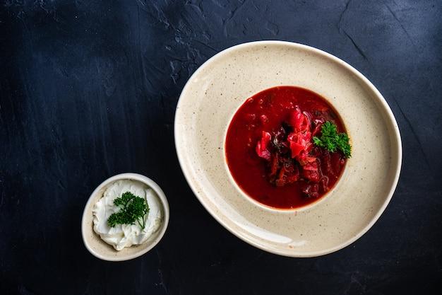 Traditional ukrainian red borscht