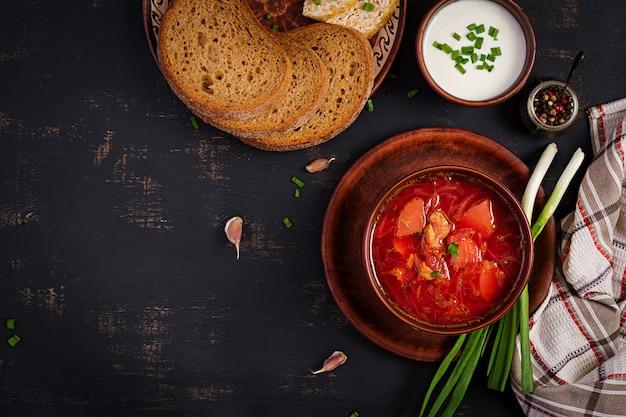 Traditional ukrainian russian borscht on the bowl