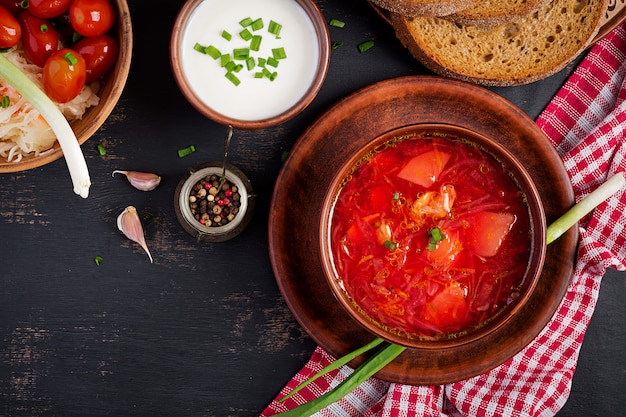 Traditional ukrainian russian borscht on the bowl
