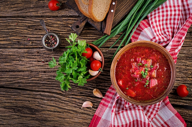 Traditional ukrainian russian borscht in bowl