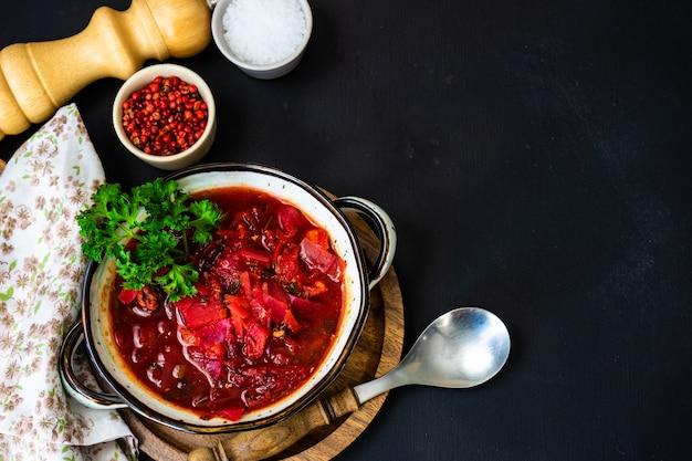 Traditional ukrainian soup borscht