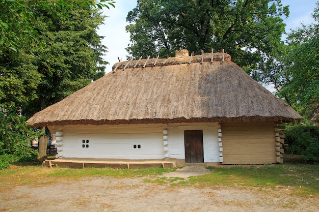 Traditional ukrainian village museum in the village morintsy on a summer day.