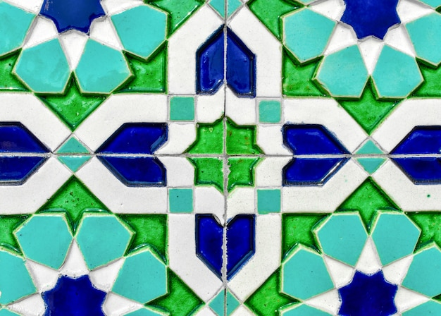 Traditional uzbek ceramic tile on the wall of the mosque