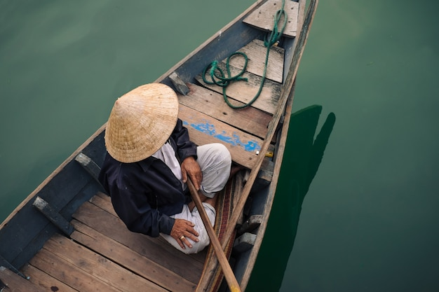 Traditional vietnamese people in hoi an city