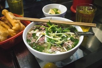 Traditional Vietnamese Pho Bo noodle soup