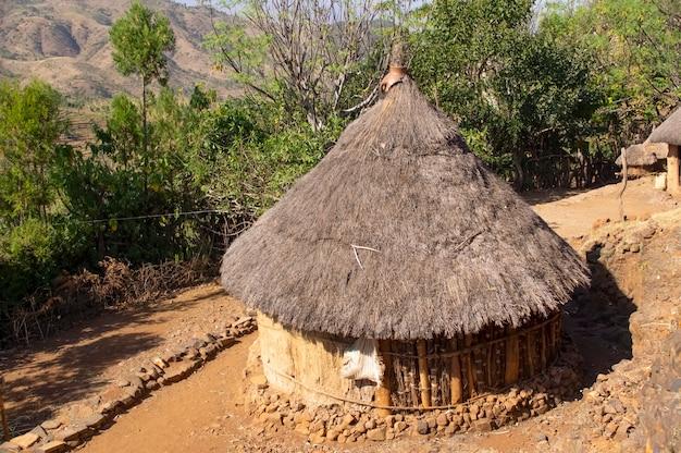 エチオピアアフリカの伝統的な村の家エチオピア Premium写真