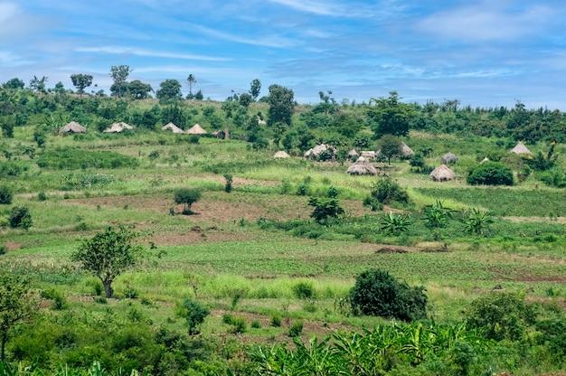 ウガンダアフリカの伝統的な村の家ウガンダ