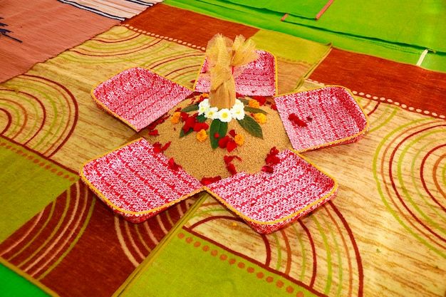 Traditional wedding ceremony in hinduism  puja thali and flower