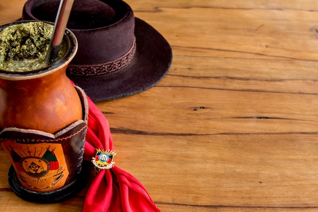 Traditional week in southern brazil. farroupilha week of the gauchos.traditional south american yerba mate (chimarrao in brazil).