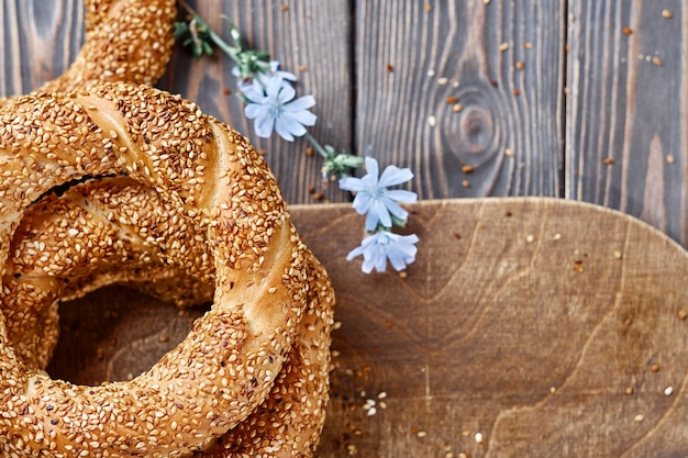 Traditional white bread with sesame seeds for breakfast