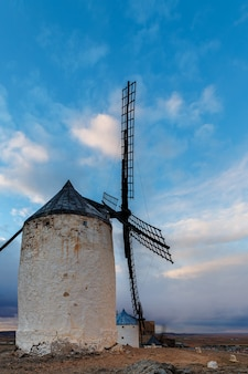 Traditional white windmills in consuegra, toledo, spain.