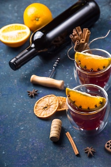 Traditional winter and christmas drink mulled red wine