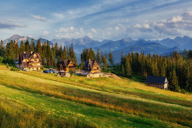 Traditional wooden house in the mountains on a green field mountain