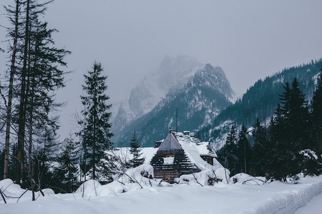 Traditional wooden houses of the winter mountains in the ski resort