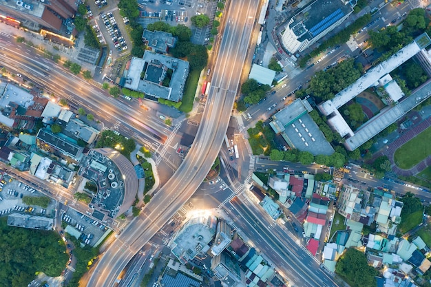 環状交差点の空中写真-台湾、台北の交通概念画像、公館円環。