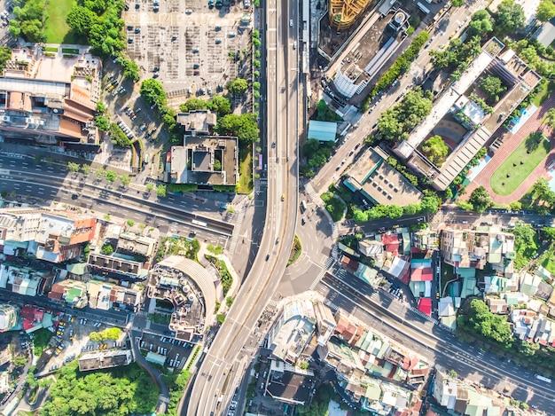 Traffic circle birds eye daytime view use the drone in taipei taiwan