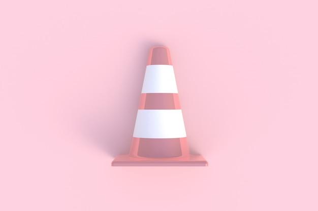 ピンクの背景、3 dレンダリングに分離されたトラフィックコーン