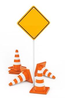Конусы движения и желтый дорожный знак с свободным пространством для вашего дизайна на белом фоне. 3d рендеринг