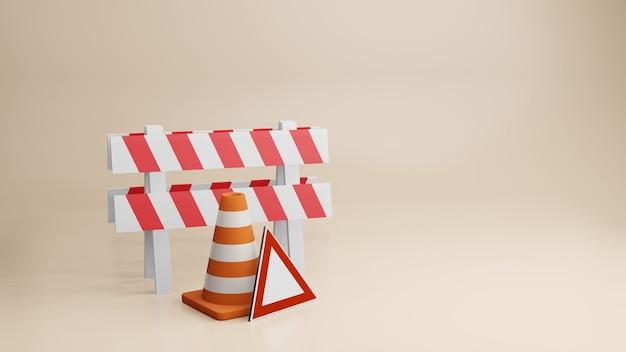 トラフィックコーンロードコーンと道路標識の3dレンダリング
