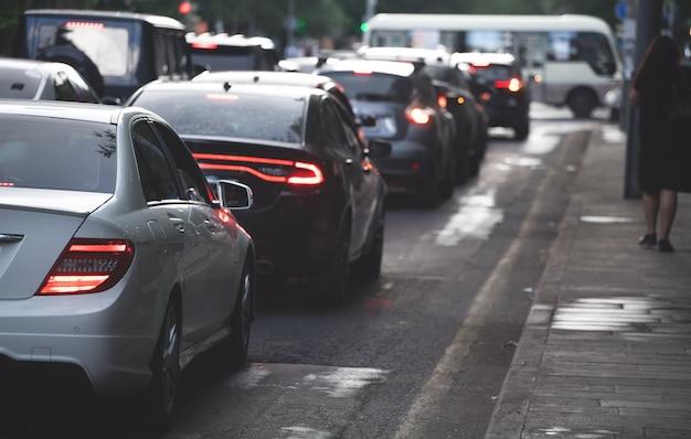 Traffic jam in a city street road.