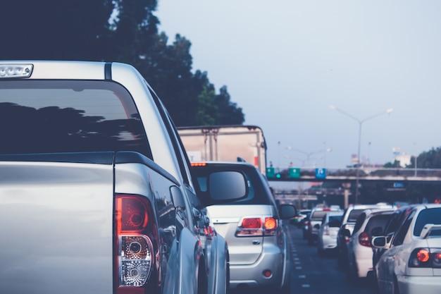 Traffic jam during rush hour.