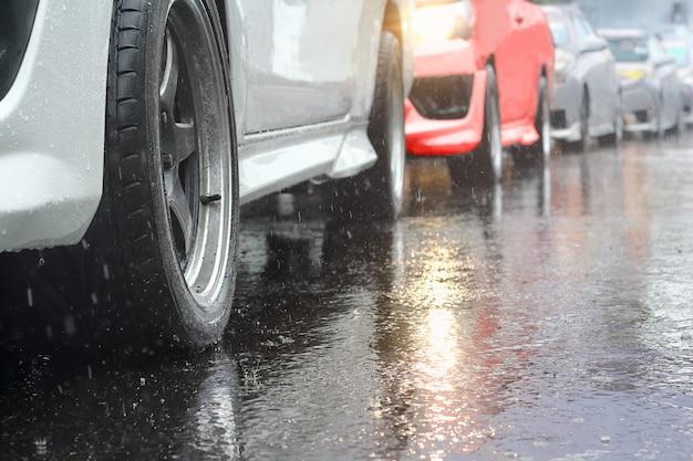 Пробка в дождливый день